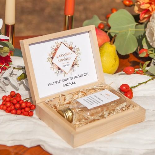 PODZIĘKOWANIE dla Świadka w drewnianym pudełku KACÓWKA Kolekcja Miedziana