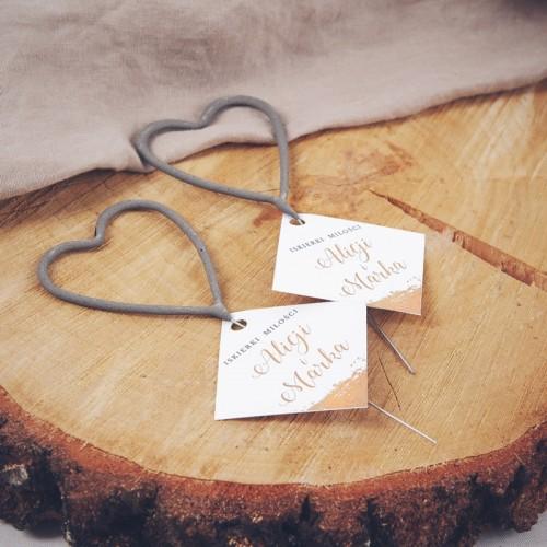 ZIMNE ognie w kształcie serc Iskierki Miłości 4szt (+bileciki z imionami)