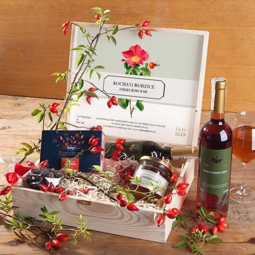 PODZIĘKOWANIE dla Rodziców w skrzyni Dzika róża z miodem Z IMIONAMI