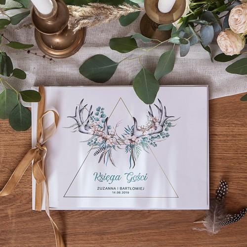 KSIĘGA GOŚCI weselnych z imionami Wild Nature (+wstążka aksamit złota)
