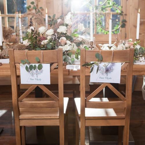TABLICZKI na krzesła Pan i Pani Młoda Wild Nature (+tasiemka)