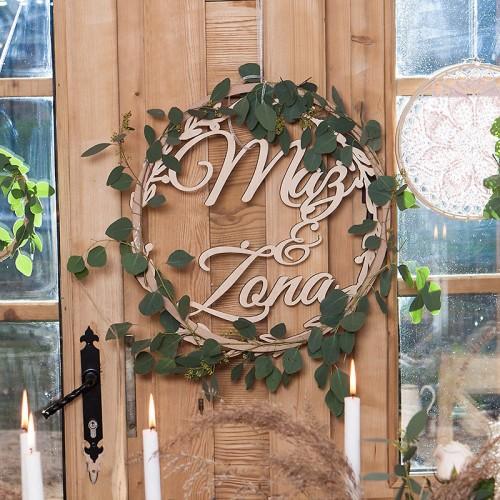 NAPIS drewniany w wieńcu Mąż Żona 50cm KONIEC SERII