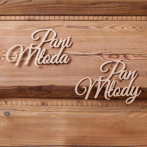 NAPISY drewniane Pan Młody/Pani Młoda 2szt KONIEC SERII