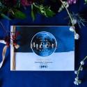 KSIĘGA GOŚCI czarne kartki fotobudka Z IMIONAMI To The Moon (+wstążka aksamit złota)
