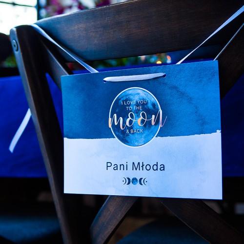 TABLICZKI na krzesła Pan i Pani Młoda To The Moon (+tasiemka)