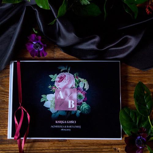 KSIĘGA GOŚCI weselnych z imionami Flora Dark (wstążka bordowa)