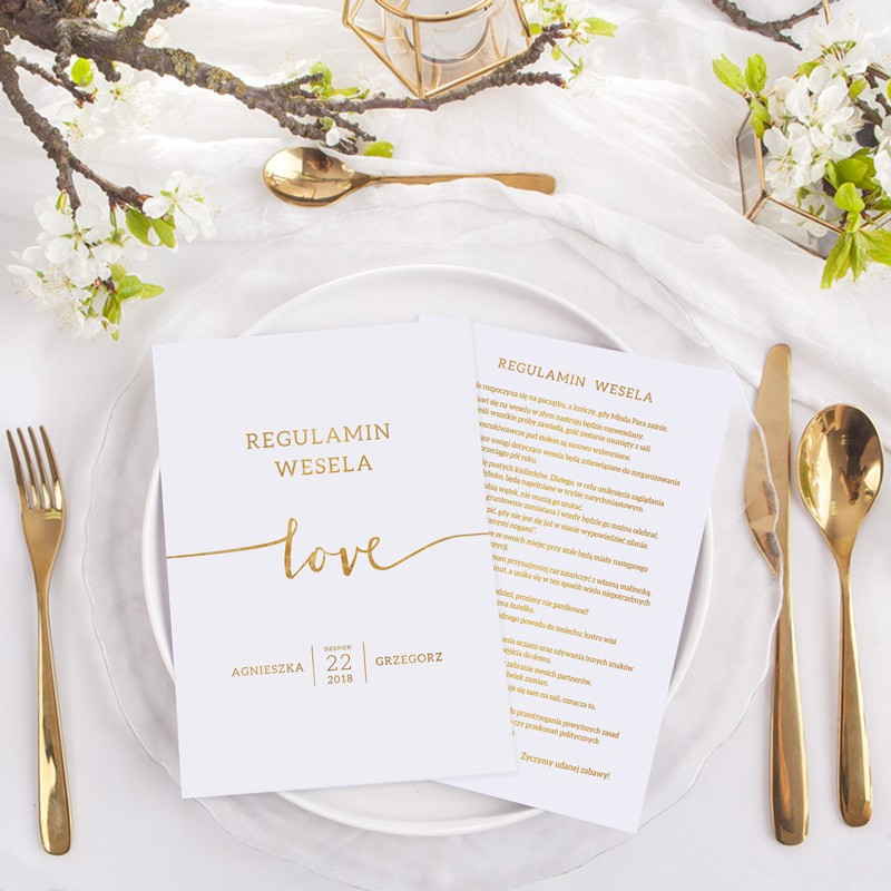 REGULAMIN wesela Z IMIONAMI Kolekcja Love