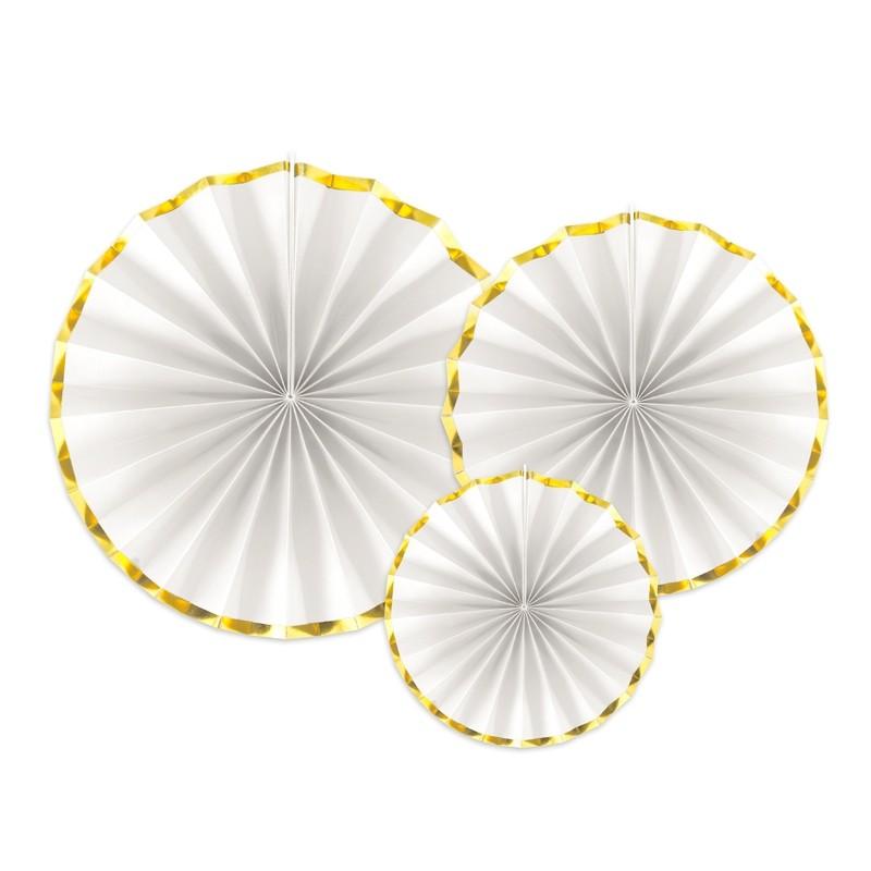 ROZETY dekoracyjne białe ze złotym paskiem 3szt