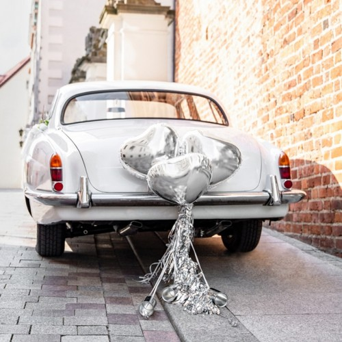 DEKORACJE na samochód ślubny ZESTAW SREBRNY
