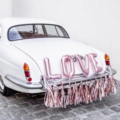 DEKORACJE na samochód ślubny ZESTAW ROSEGOLD