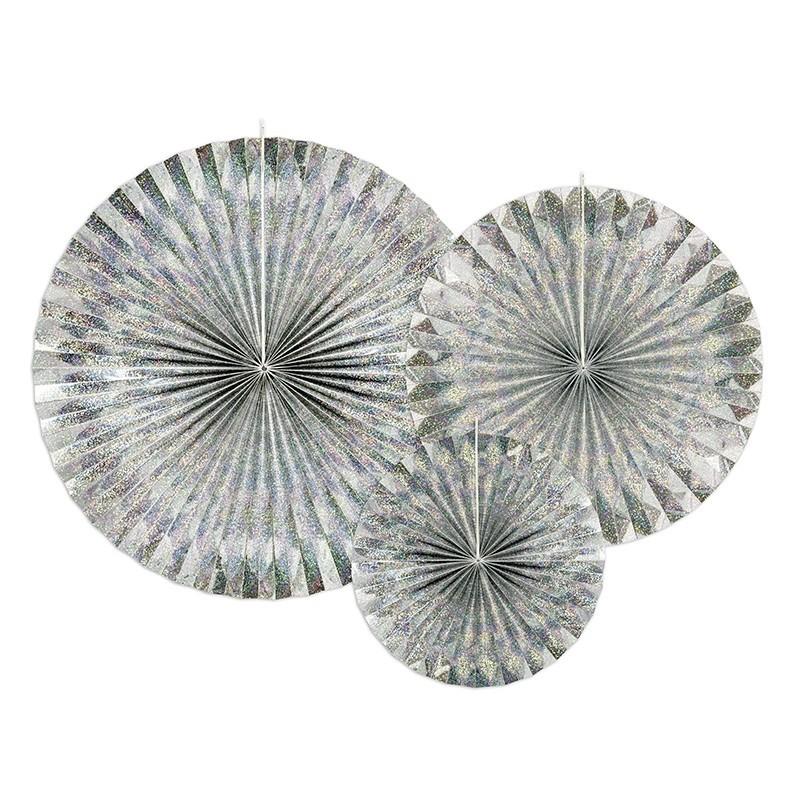 ROZETY dekoracyjne holograficzne 3szt SREBRNE
