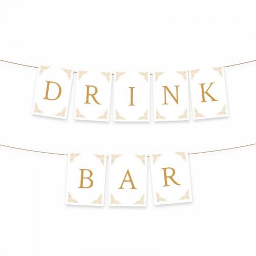 BANER biało-złoty Drink Bar DUŻY FORMAT