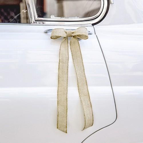 ZESTAW do dekoracji auta Kokardki z juty