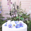 TOPPER na tort Mr&Mrs SREBRNY
