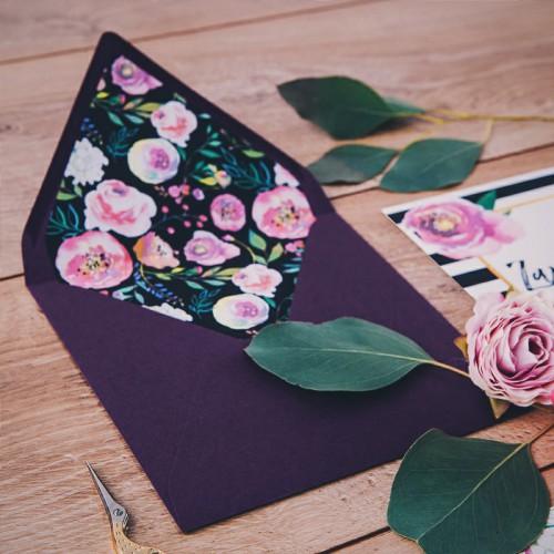 ZAPROSZENIE ślubne Flowers&Stripes (+koperta z wnętrzem+naklejka)