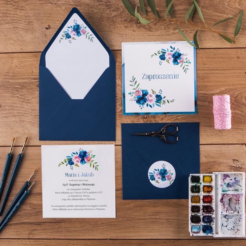 ZAPROSZENIE ślubne Romantic Blue (+koperta z wnętrzem+naklejka)
