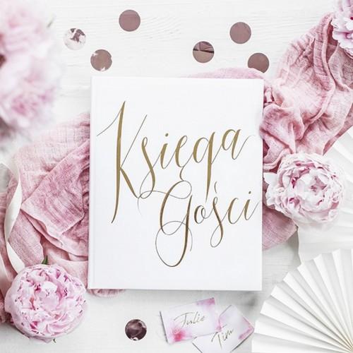 KSIĘGA GOŚCI weselnych ze złotym napisem Księga Gości BIAŁA
