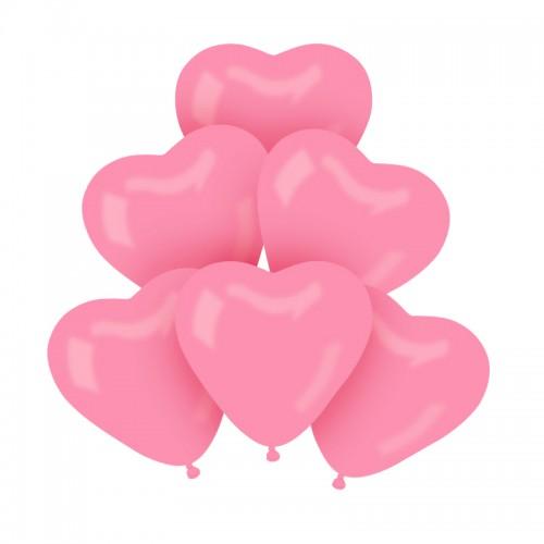 BALONY pastelowe serca 30cm 6szt JASNORÓŻOWE