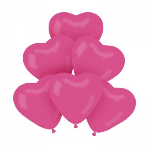 BALONY pastelowe serca 25cm 6szt CIEMNORÓŻOWE