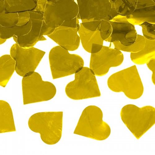 KONFETTI WYSTRZAŁOWE metaliczne serca 60cm ZŁOTE