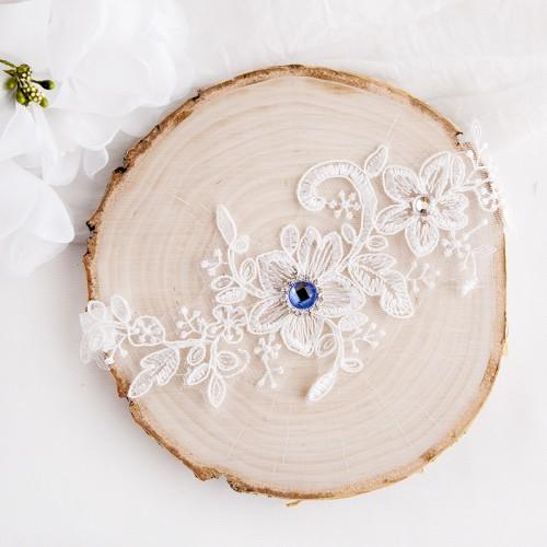PODWIĄZKA ślubna Niebieska Cyrkonia LUX