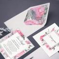 ZAPROSZENIE ślubne Pink&Grey (+koperta z wnętrzem+naklejka)