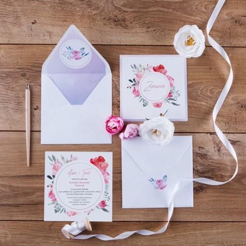 ZAPROSZENIE ślubne Akwarelowe kwiaty (+koperta z wnętrzem+naklejka)