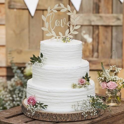 TOPPER na tort weselny rustykalny Love