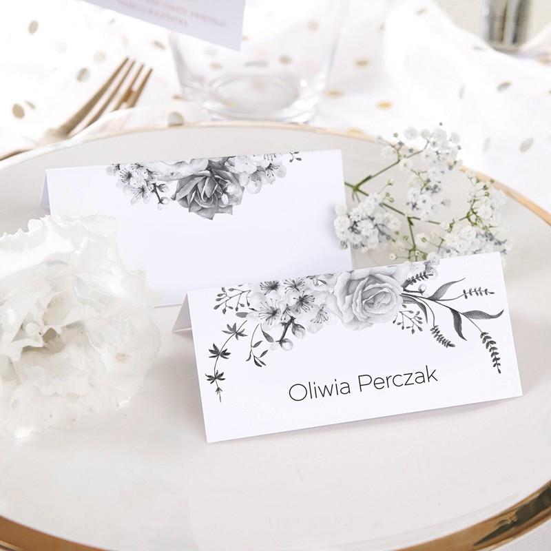 WINIETKA ślubna z nadrukiem Grey Flowers