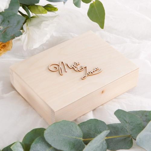 PUDEŁKO na obrączki drewniane Kwiaty Bawełny Z IMIONAMI