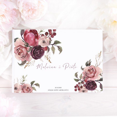 KSIĘGA GOŚCI czarne kartki fotobudka Z IMIONAMI Dusty Roses