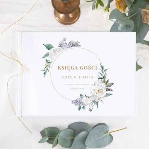 KSIĘGA GOŚCI weselnych z imionami Kwiaty Vintage (+sznureczek złoty)
