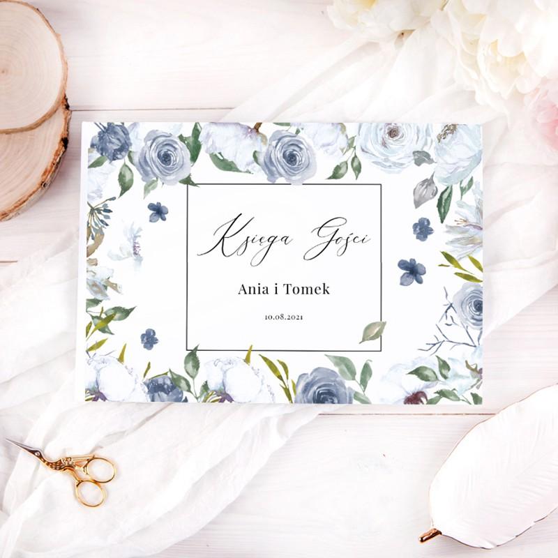 KSIĘGA GOŚCI weselnych z imionami Blue Flowers