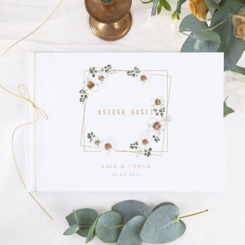 KSIĘGA GOŚCI weselnych z imionami Białe Kwiaty (+sznureczek złoty)