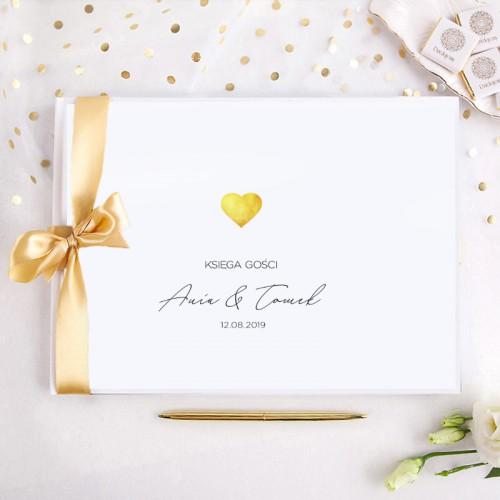 KSIĘGA GOŚCI weselnych z imionami Złote Serduszko (+wstążka złota)