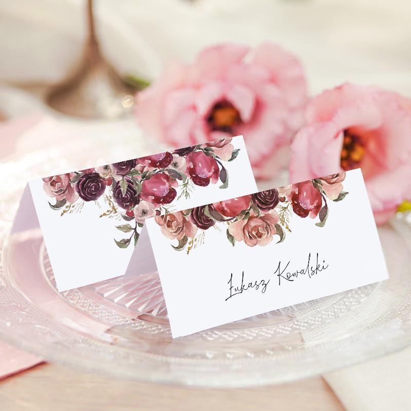 WINIETKA ślubna z nadrukiem Dusty Roses