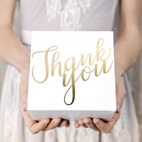 PUDEŁKA na ciasto Thank You 10szt NAPIS ZŁOTY