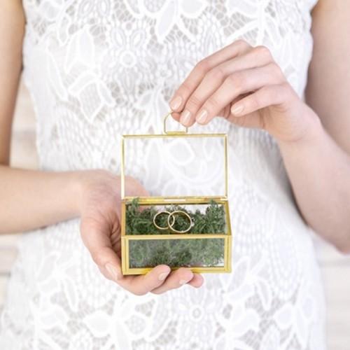 SZKATUŁKA szklana prostokątna na obrączki z uchwytem 9x5,5cm