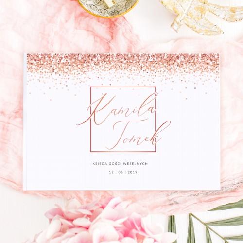 KSIĘGA GOŚCI weselnych z imionami Wedding Confetti ROSEGOLD