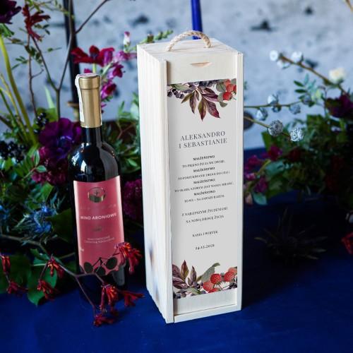 PREZENT na ślub dla Pary Młodej WINO w drewnianej skrzyni Aronia i Malina