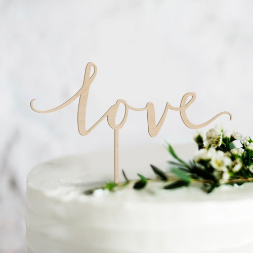 TOPPER na tort weselny Love NATURALNY DREWNIANY
