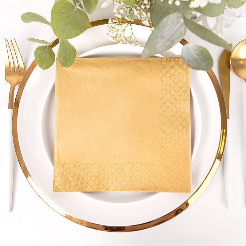 SERWETKI złote metaliczne 33x33cm 20szt