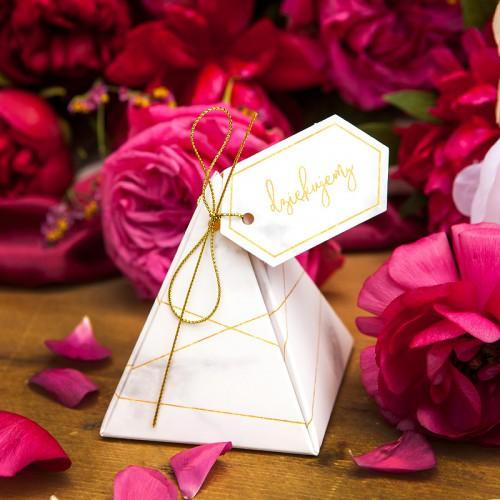 PUDEŁECZKA podziękowanie piramidki Marmur Marble 10szt
