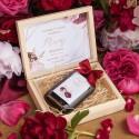 PODZIĘKOWANIE dla Świadka w drewnianym pudełku KACÓWKA Marsala&Gold
