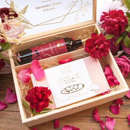 PODZIĘKOWANIE dla Rodziców/Świadków w skrzyni Z IMIONAMI Wino+migdały Marsala&Gold