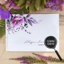 KSIĘGA GOŚCI czarne kartki fotobudka Z IMIONAMI Kolekcja Lawendowa (+sznureczek złoty)
