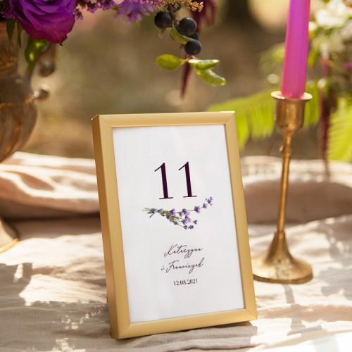 NUMEREK na stół wesele z imionami Kolekcja Lawendowa