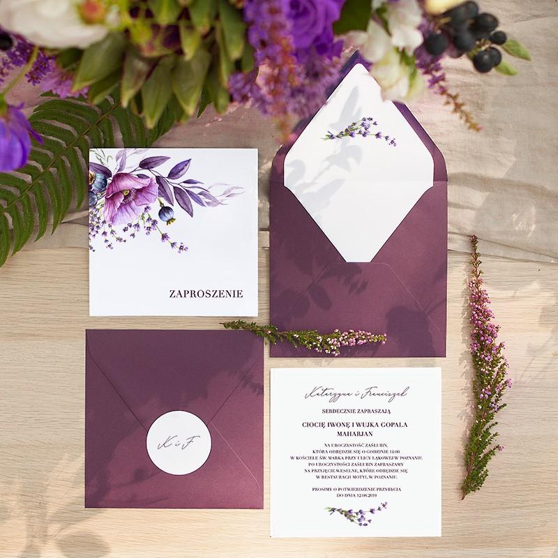 ZAPROSZENIE ślubne Kolekcja Lawendowa (+koperta z wnętrzem+naklejka)