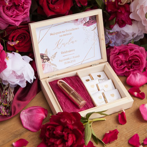 PODZIĘKOWANIE dla Świadkowej w drewnianym pudełku Marsala&Gold pomadka+czekoladki