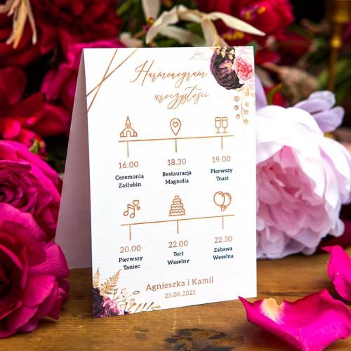 HARMONOGRAM uroczystości personalizowany Marsala&Gold